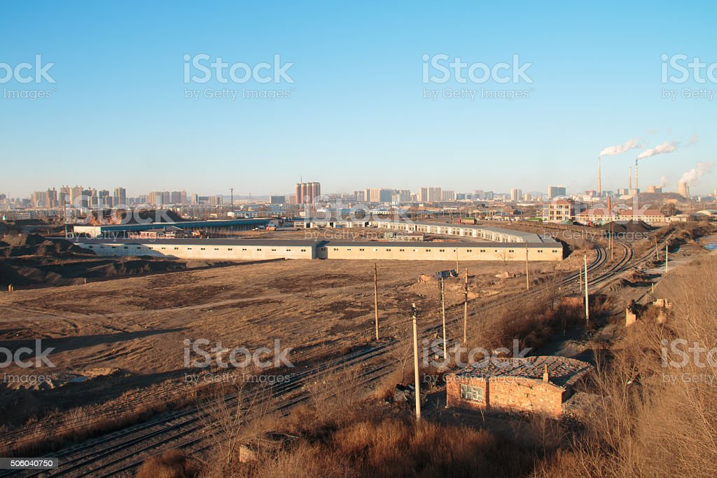 Coal field in the modern city stock photo