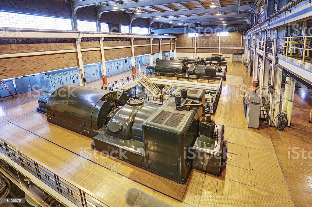 Coal Fired Power Plant Interior with 100 Megawatt Turbines stock photo