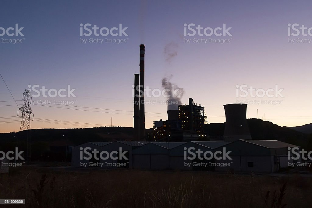 Coal Fired Power Station at Dusk - Central de Carbon stock photo