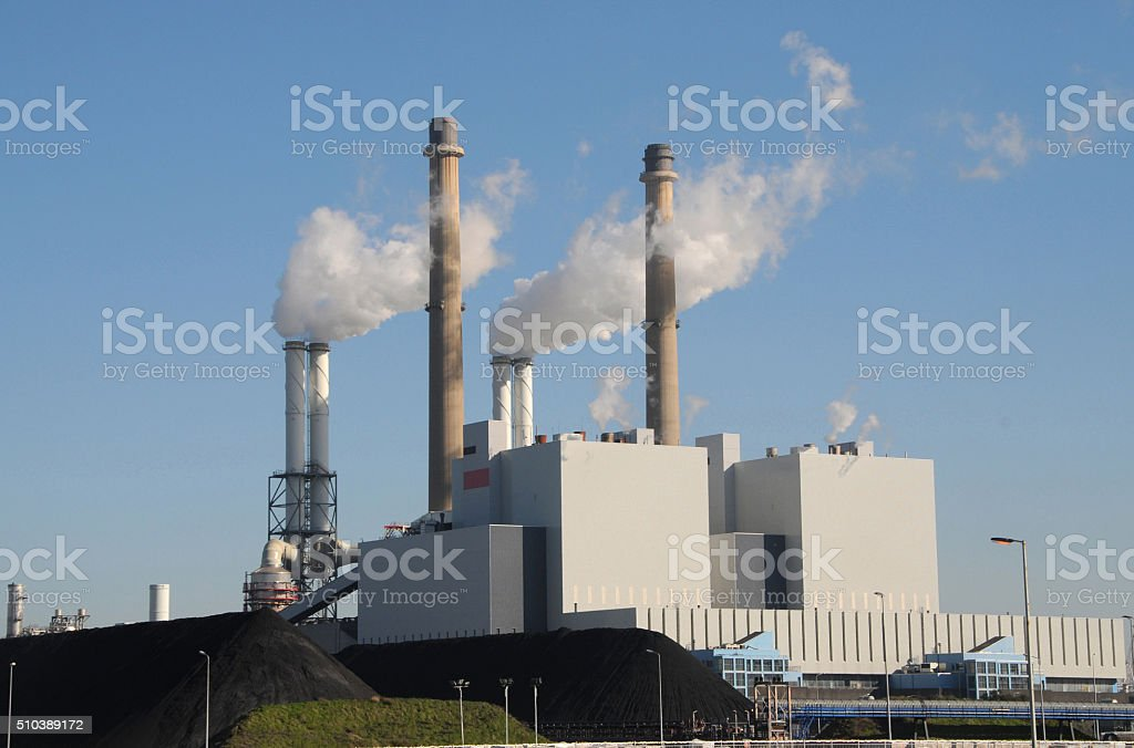 Coal fired powerplant stock photo