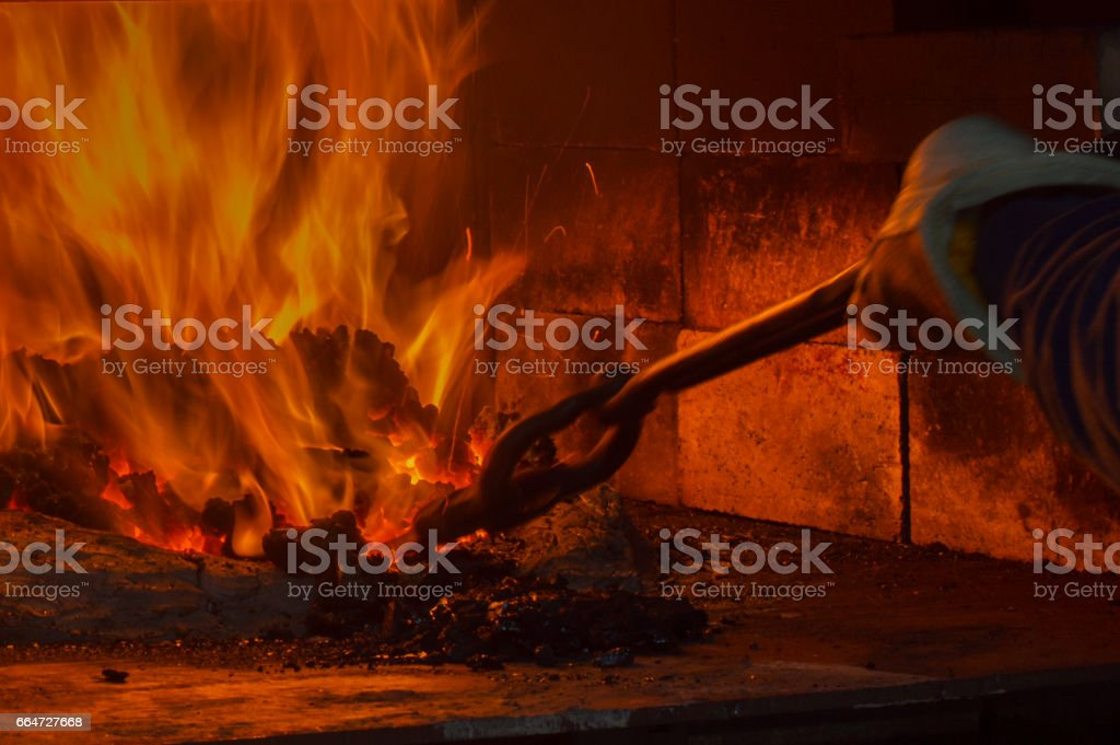 Coal forging flames stock photo