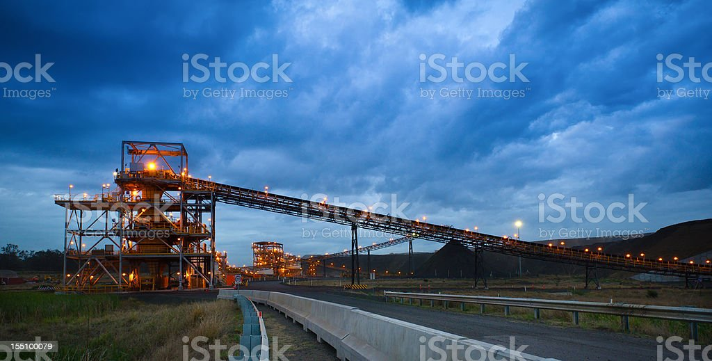 Coal Handling and Prep Plant CHPP at sunset stock photo