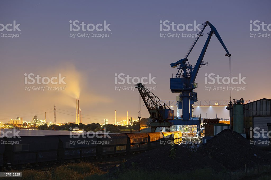 Coal Harbor And Industry At Night royalty-free stock photo