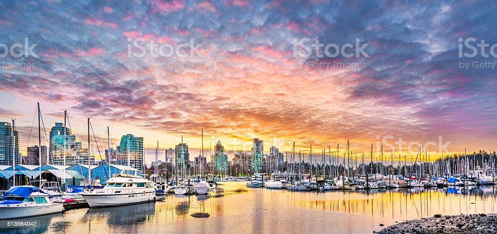 Coal Harbor at Sunset stock photo