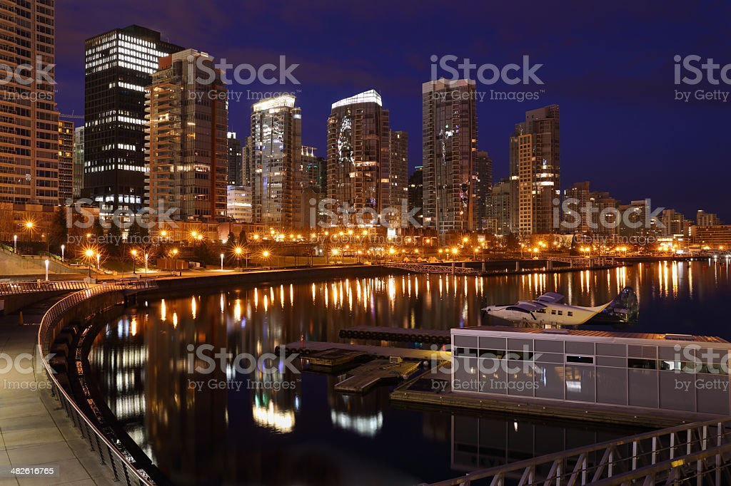 Coal Harbor Towers Night, Vancouver royalty-free stock photo