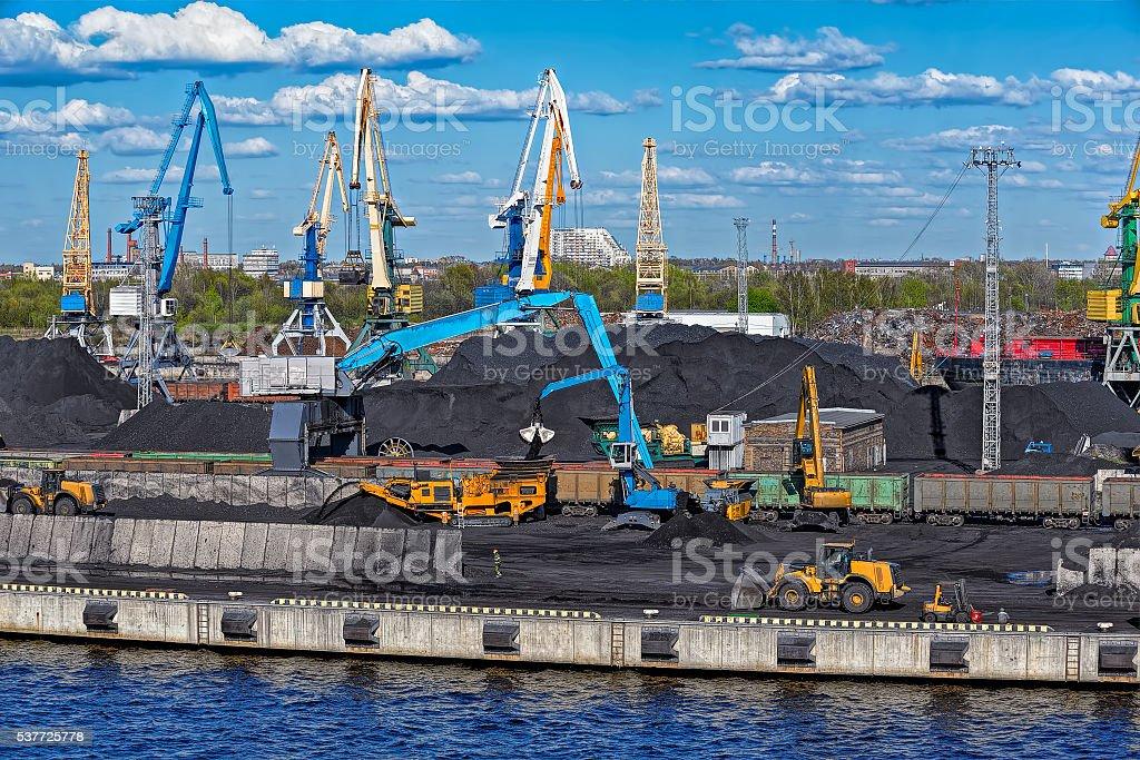 Coal loading machinery stock photo