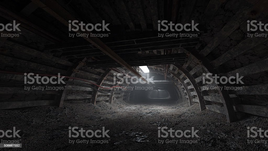 Coal mine dark tunnel stock photo