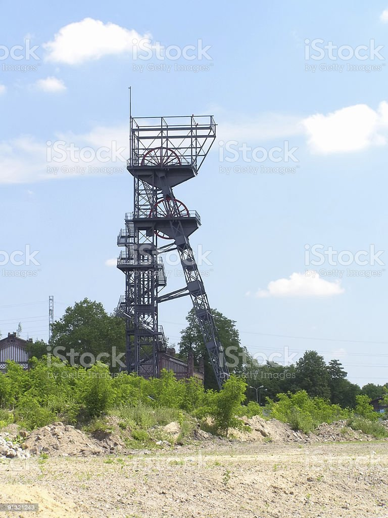 coal mine - elevator tower on background of blue sky royalty-free stock photo
