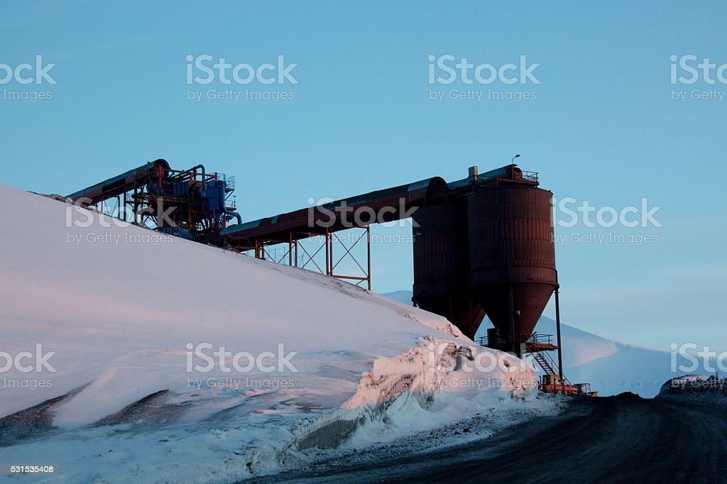 Coal mine in Longyearbyen Sptzbergen stock photo