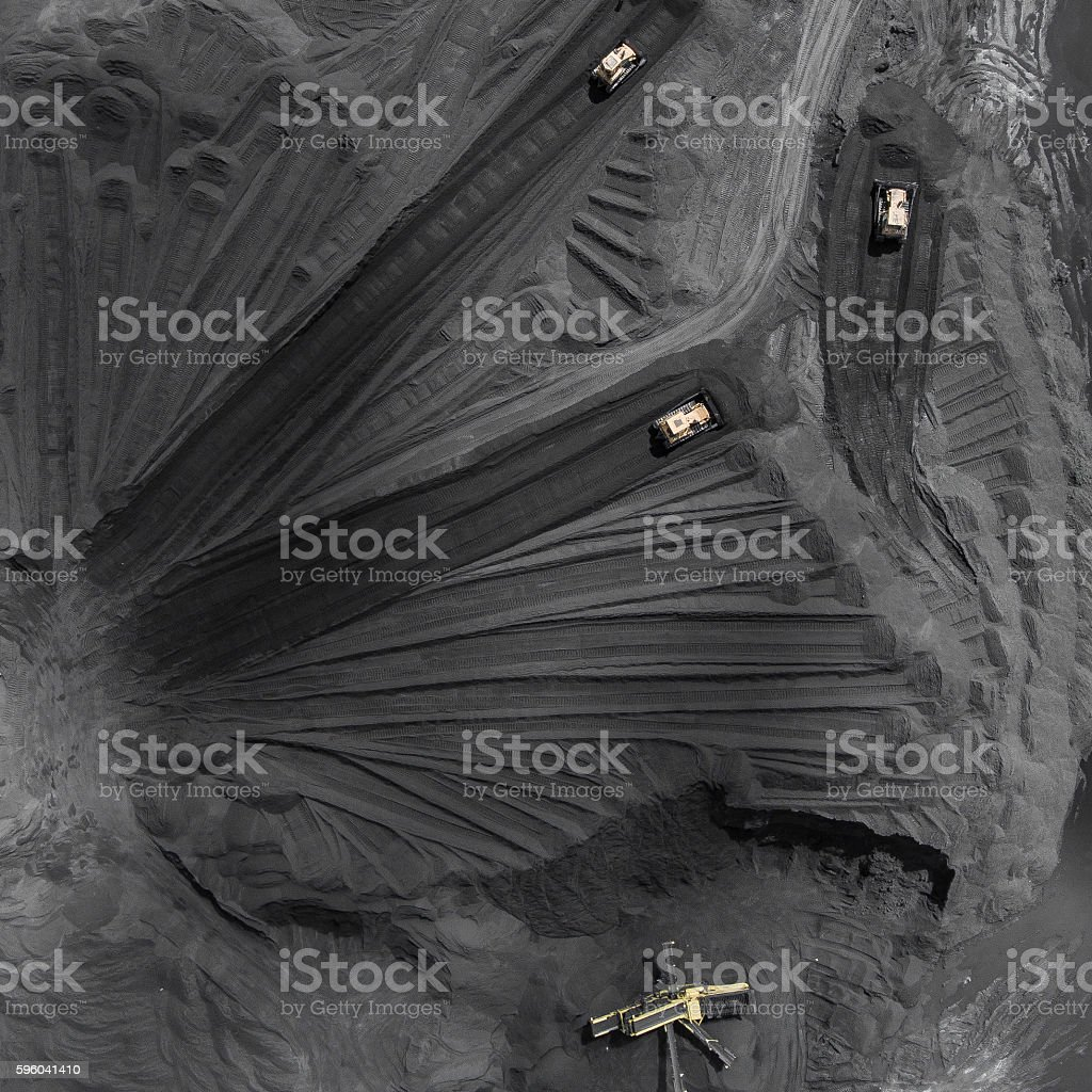 Coal mine in south of Poland. Destroyed land. stock photo