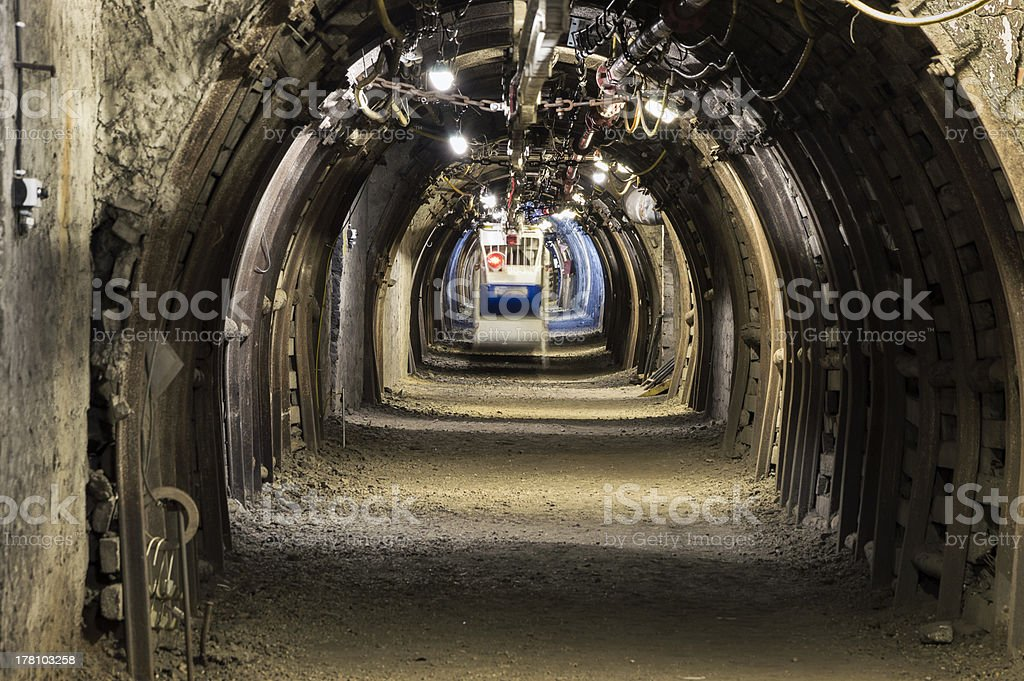 Coal Mine Machine to Transport Workers stock photo