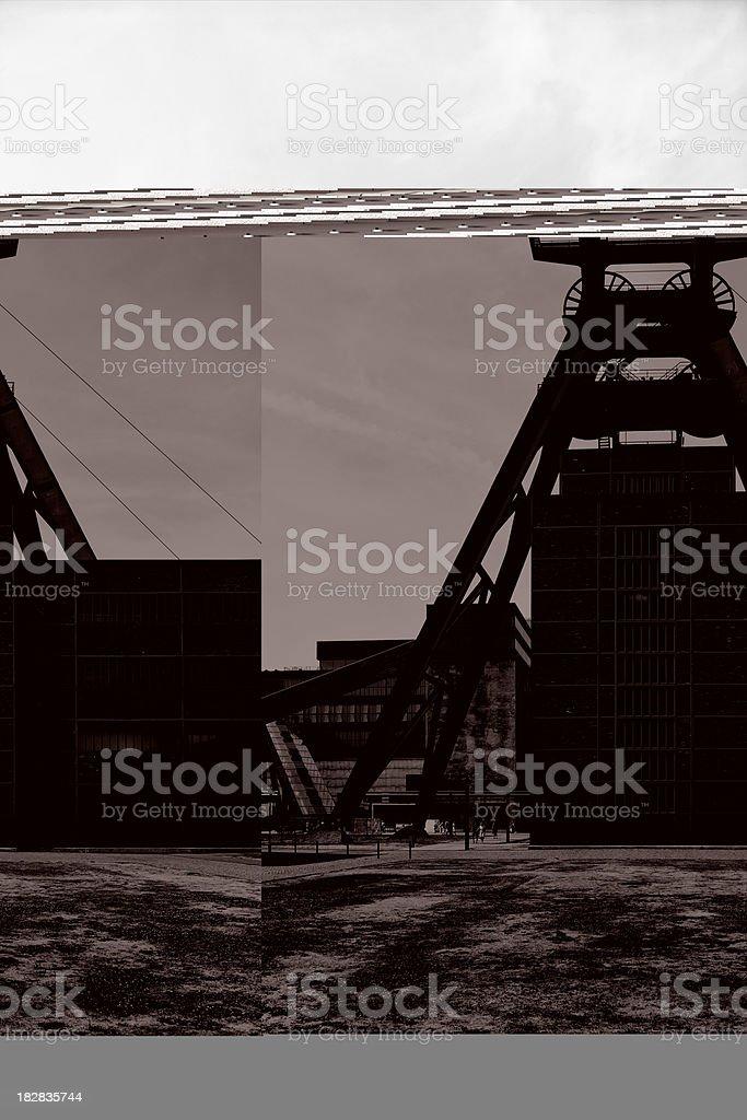 Coal Mine, Shaft Tower stock photo