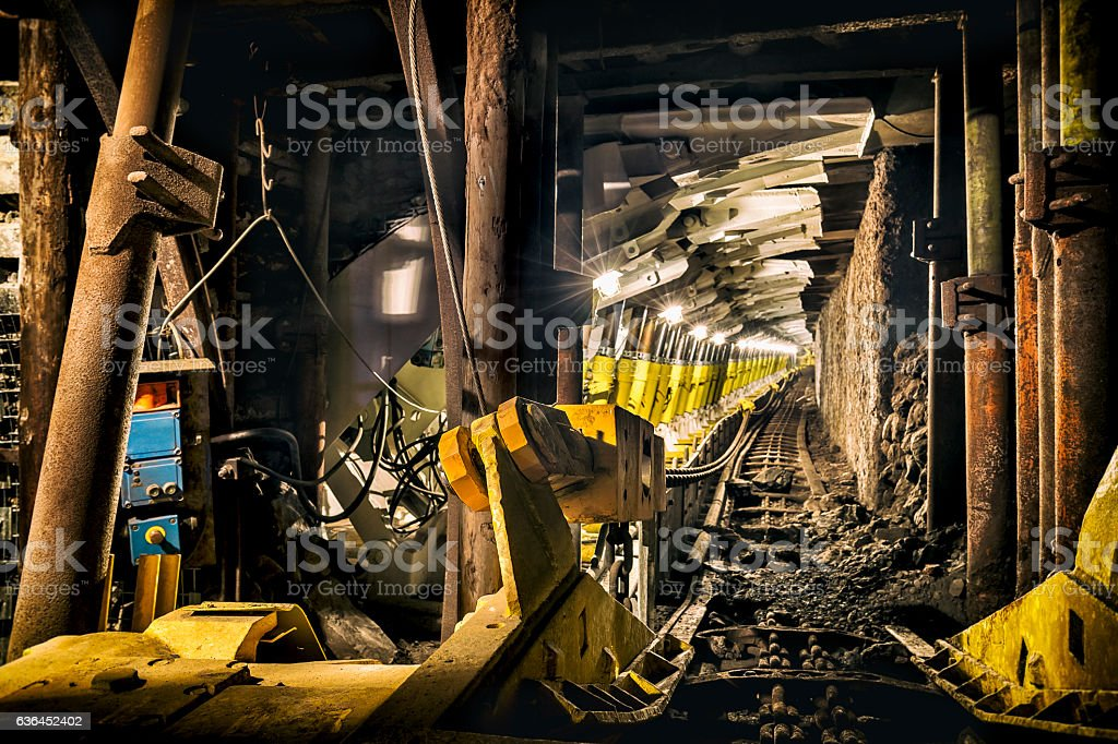 Coal mine underground corridor with steel support system stock photo