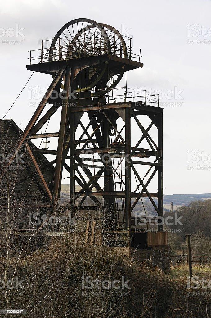 Coal Mine Winding Gear, South Wales stock photo