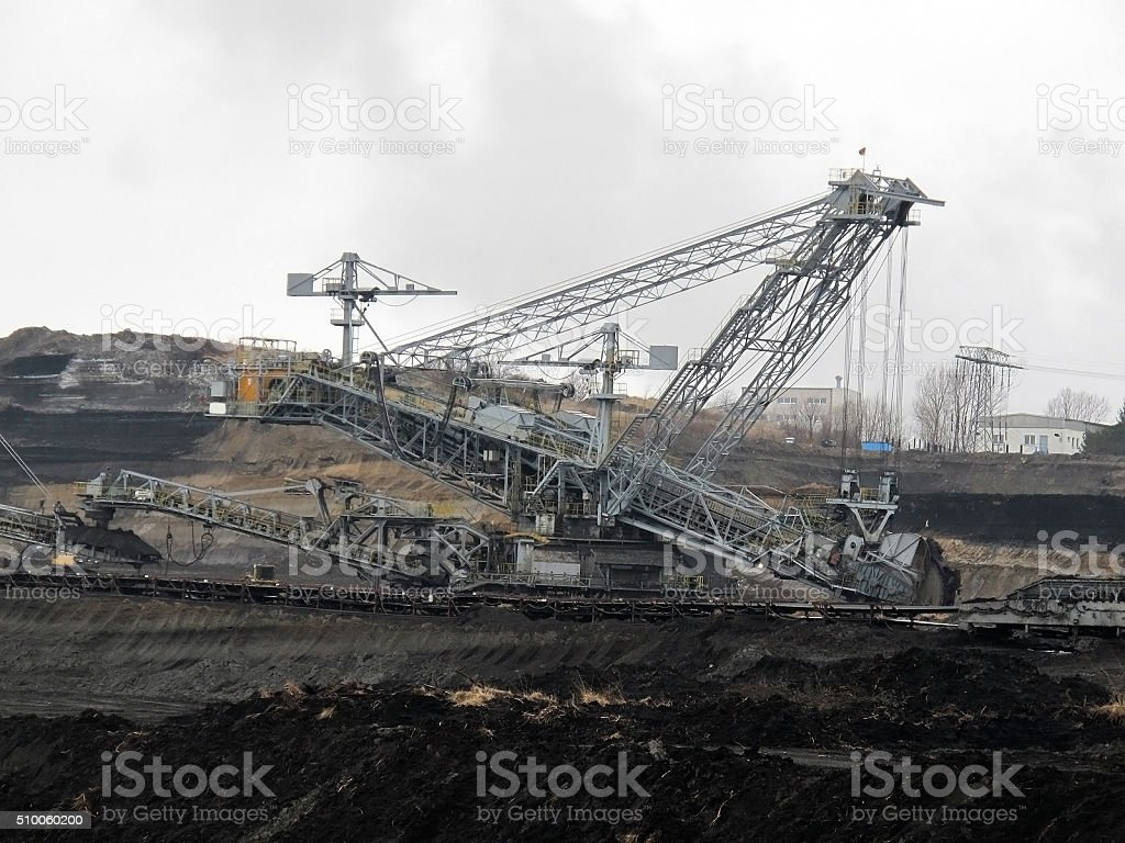 coal mine with bucket wheel excavator stock photo