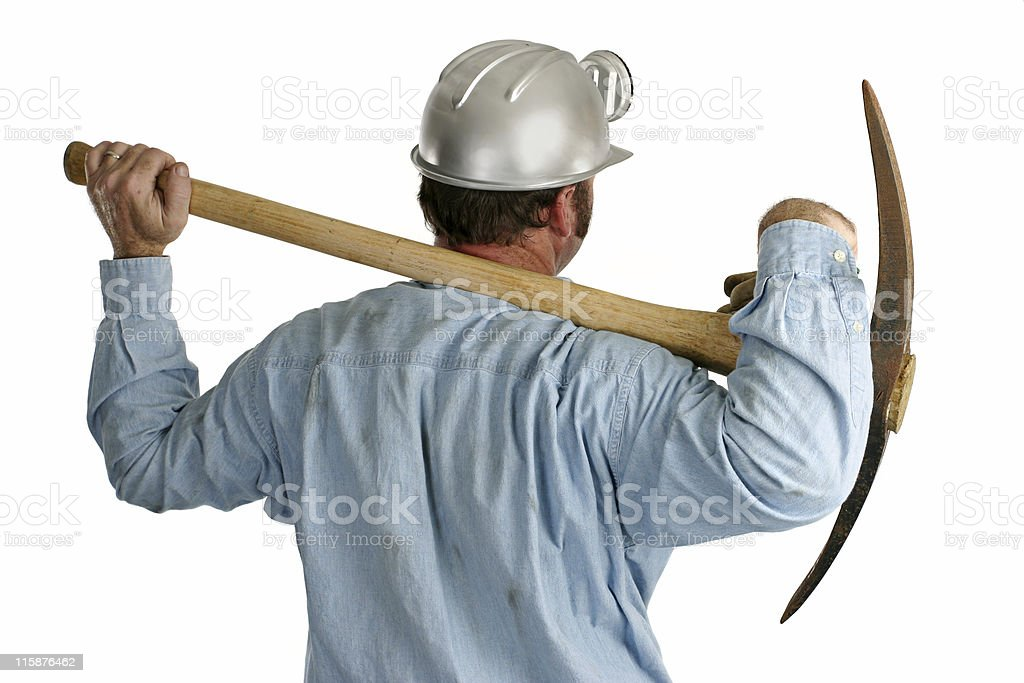 Coal Miner With Pickax - Back royalty-free stock photo