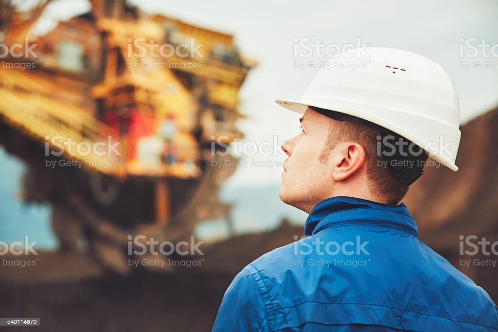 Coal mining in an open pit stock photo
