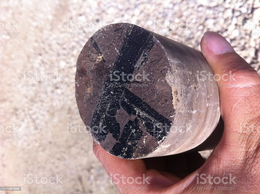 Coal Pieces in the Bituminous Shale stock photo