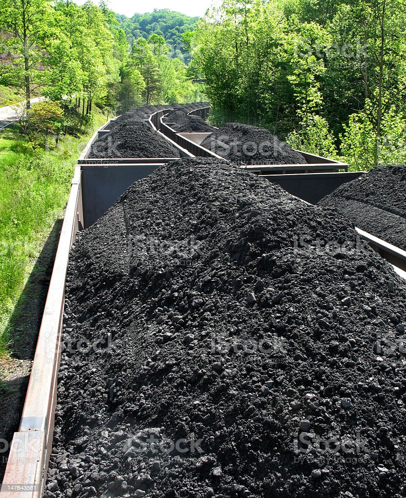 Coal piled in railroad cars stock photo