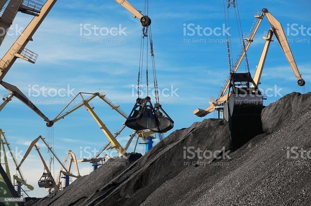 Coal, Portal cranes, clamshell stock photo