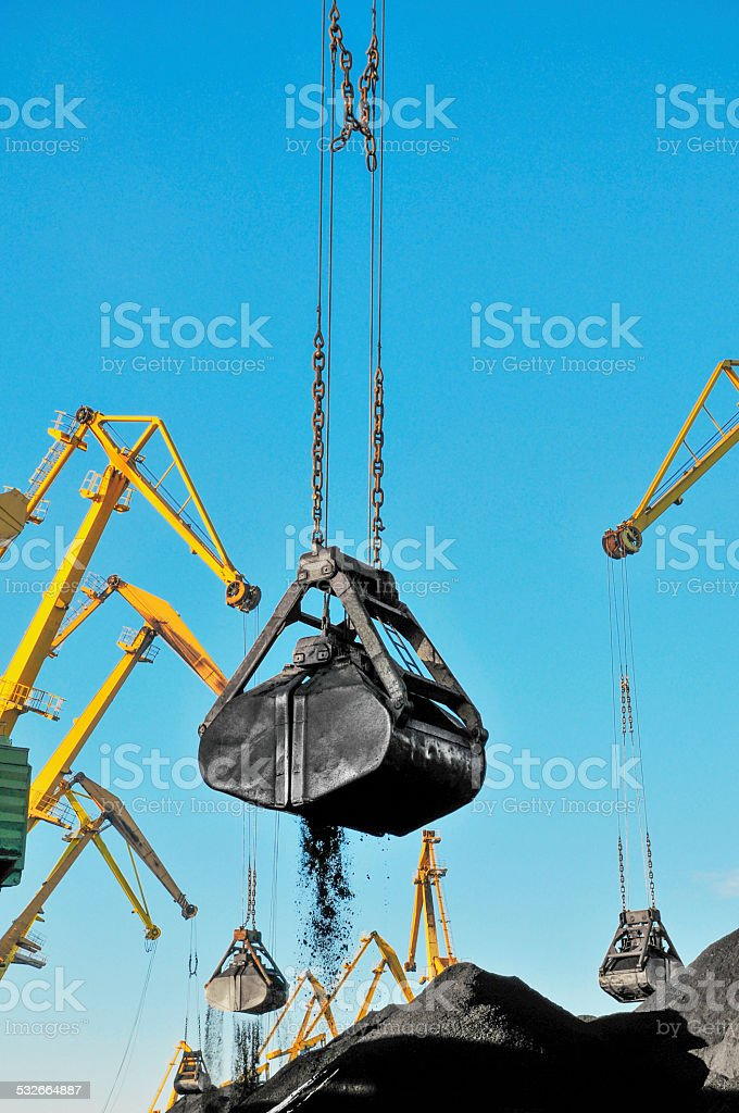 Coal, Portal cranes, clamshell? stock photo