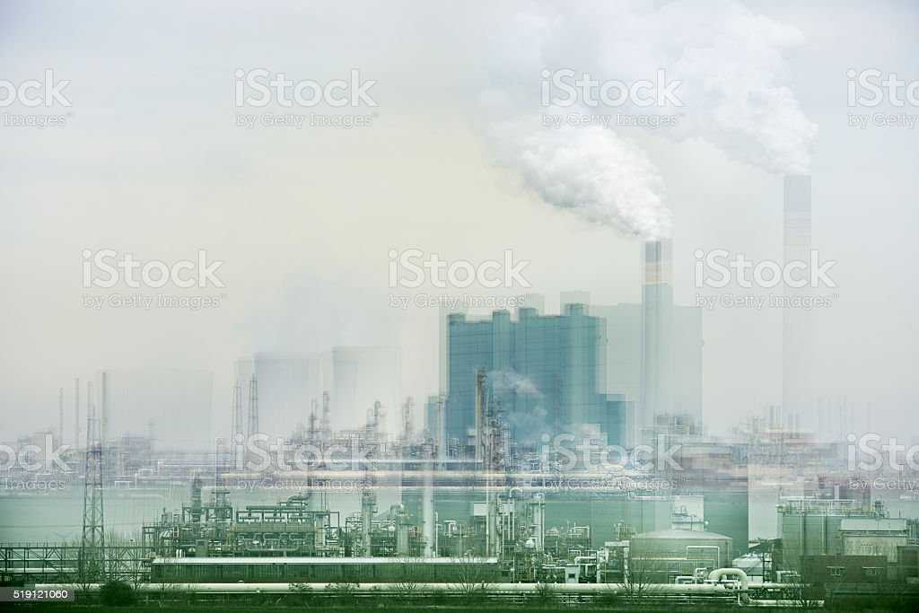 Coal Power Plant, abstract Study created by camera manipulation stock photo
