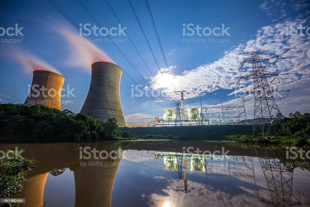 Coal Power Plant At River stock photo