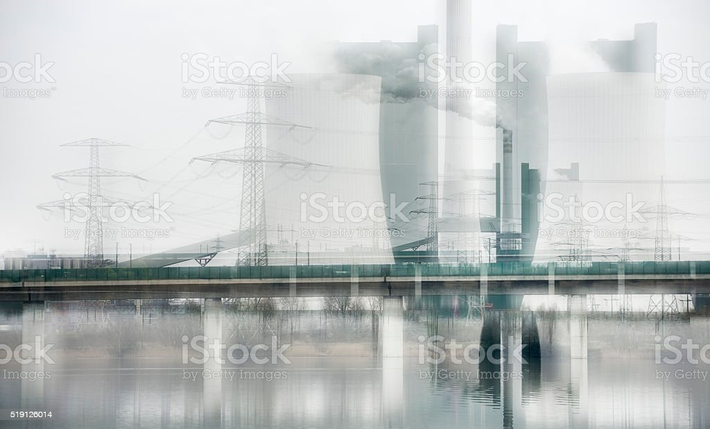 Coal Power Plant by Lake, abstract Study, camera manipulation stock photo