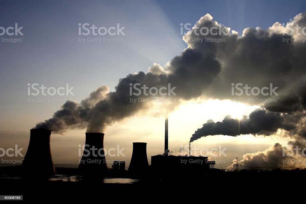 Coal power plant fumes stock photo