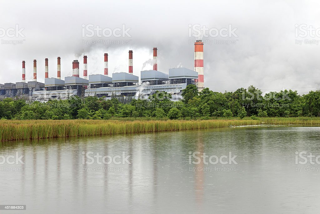 Coal power plant in the rain royalty-free stock photo