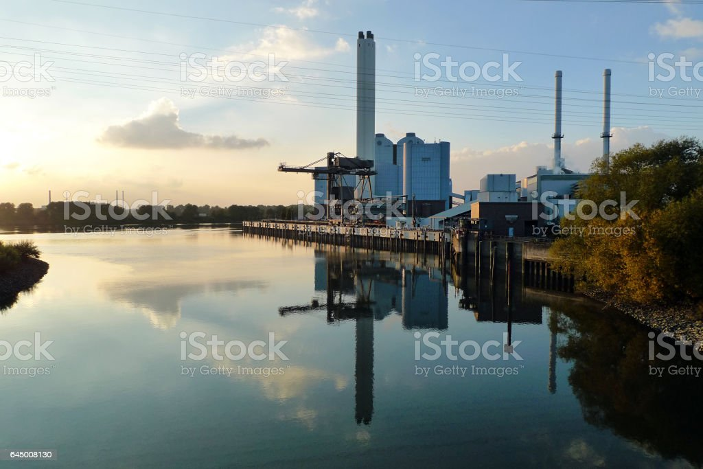 Coal power plant r on the side of a Canal, Germany stock photo