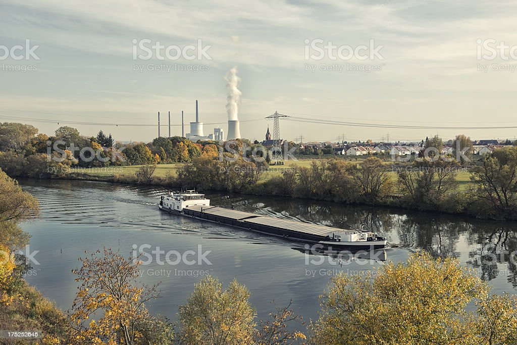 Coal Power Plant, Staudinger, Germany, Grosskrotzeburg, Energiewende; Main River stock photo