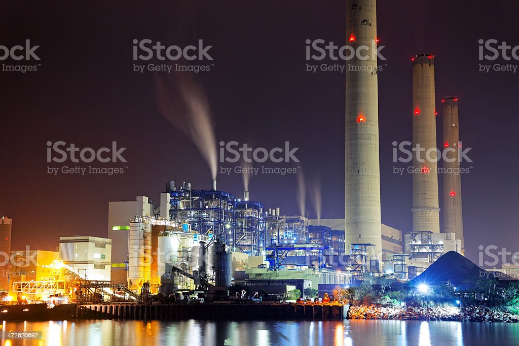 coal power station and night blue sky stock photo