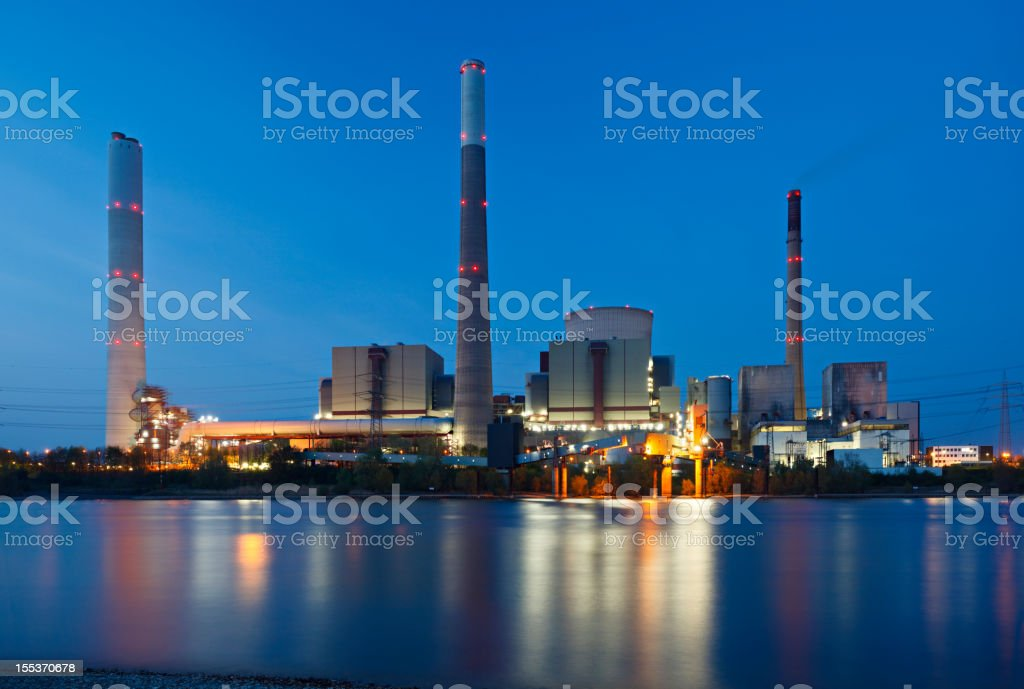 Coal Power Station At River stock photo