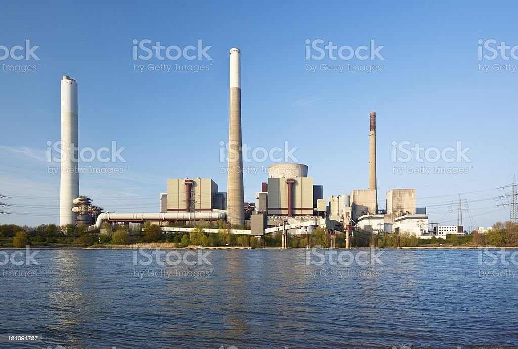 Coal Power Station At River royalty-free stock photo