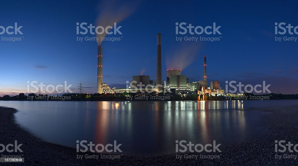 Coal Power Station Panorama With River XXL royalty-free stock photo