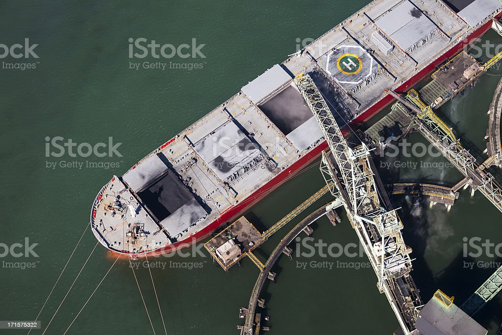 Coal Ship Being Loaded stock photo