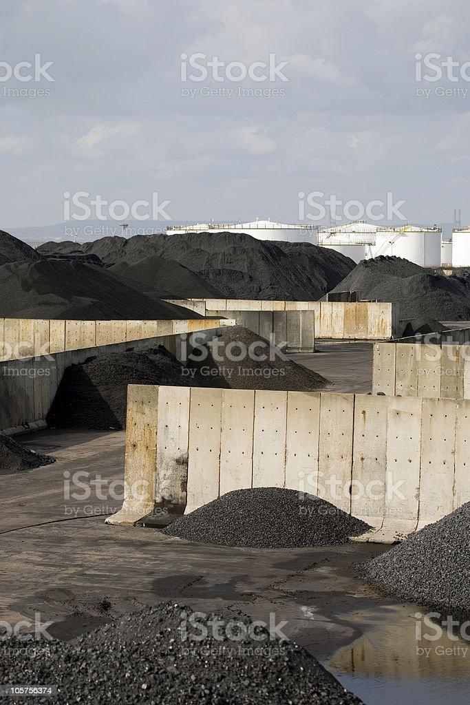 Coal storage piles royalty-free stock photo