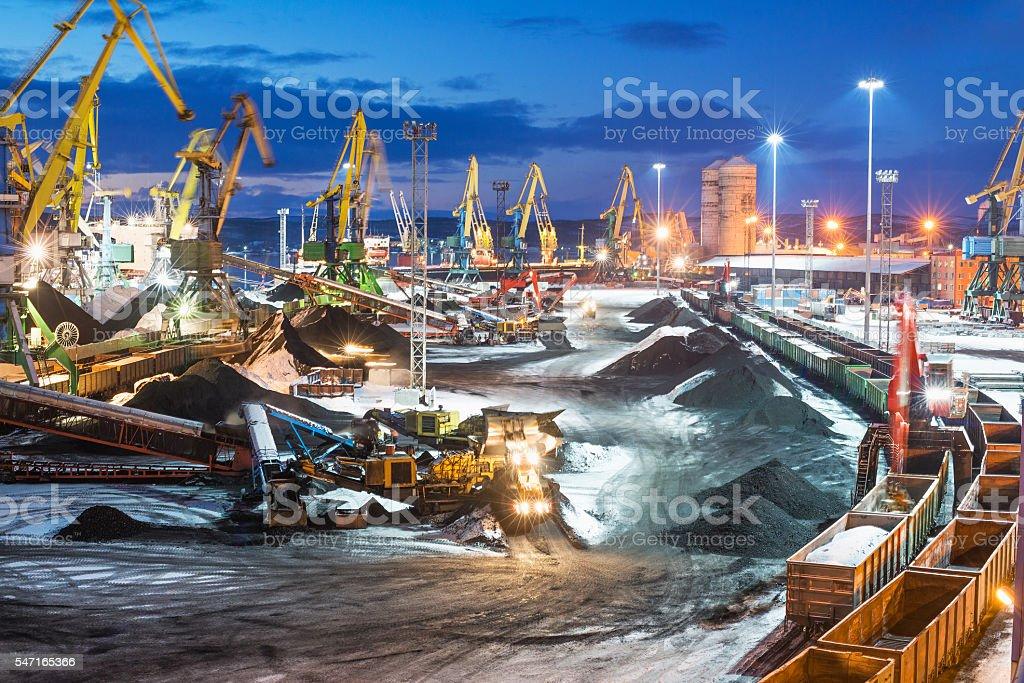 Coal terminal at night. stock photo
