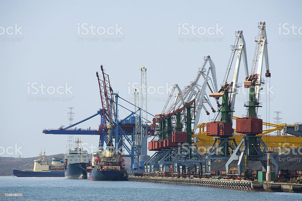 coal terminal at russian cargo port Vladivostok royalty-free stock photo