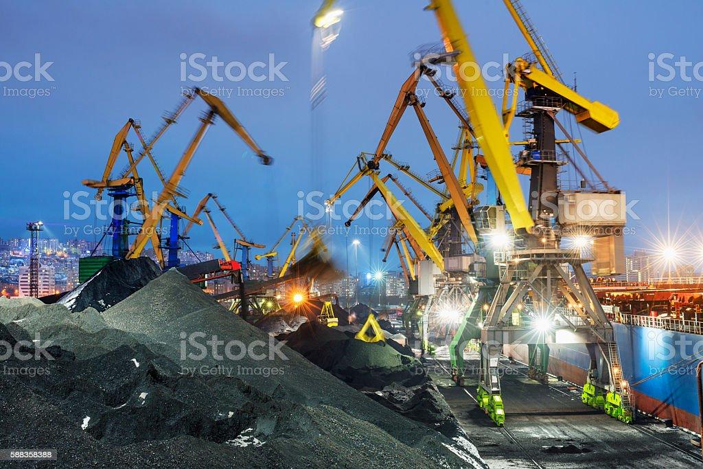 Coal terminal, cargo cranes, port. stock photo