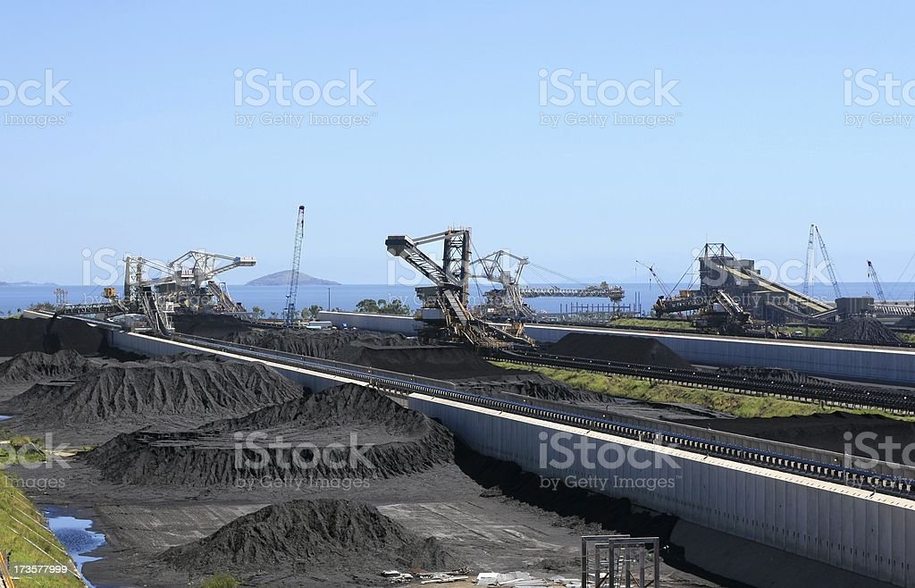 Coal Terminal stock piles ready for export royalty-free stock photo