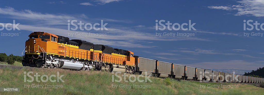 Coal train ascending hill in Colorado stock photo