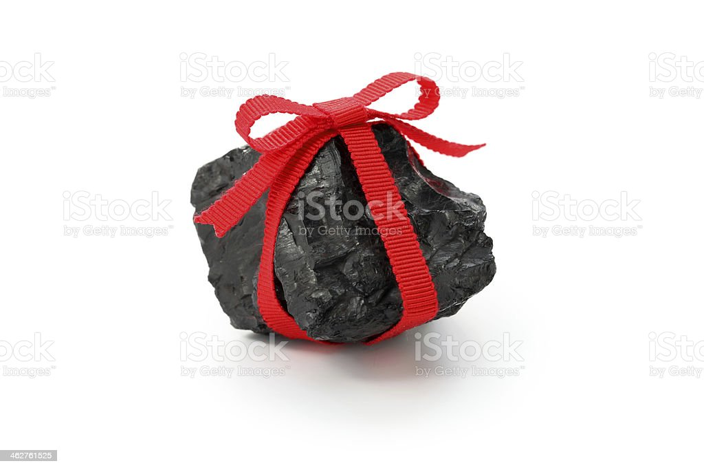 coal with red ribbon stock photo