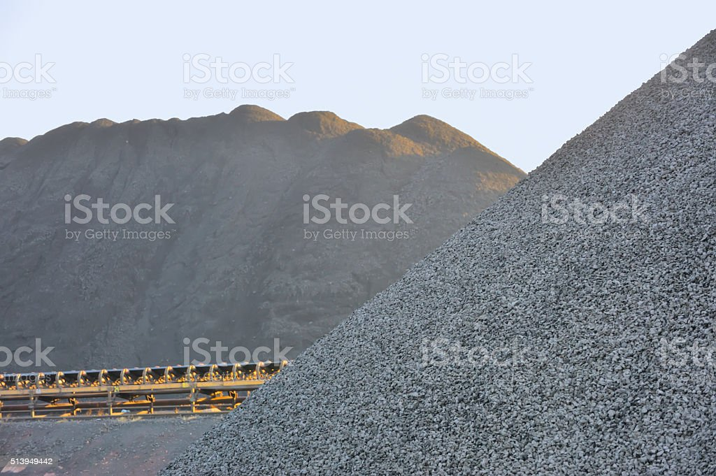 Coal yard in heaps for industrial use stock photo