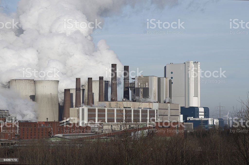 coal-fired power plant and environment stock photo