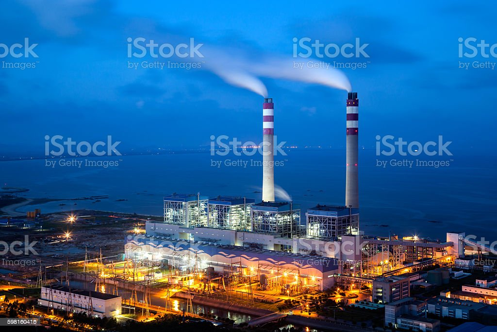 Coal-fired power plants stock photo