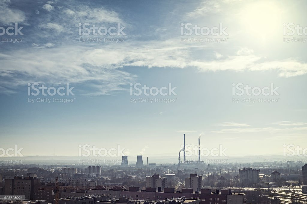 Coal-fired Power Station, factory in the middle of the city, panorama stock photo