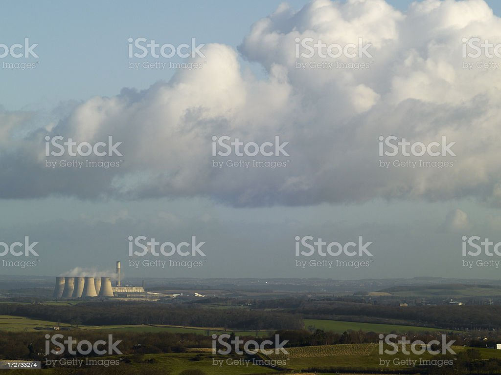 Coal-fired power station in the landscape royalty-free stock photo