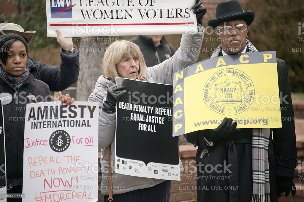 Coalition of Protestors Against Capital Punishment in Maryland stock photo